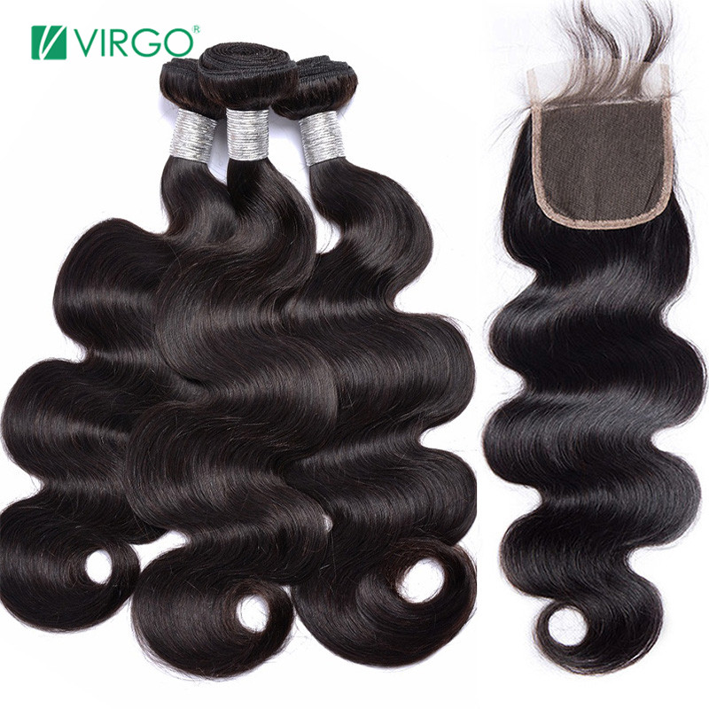 Brazilian Body Wave 3 Bundles With Closure Human Hair Bundles With Lace Closure 4 Bundles/lot Virgo Hair 100% Remy Extensions