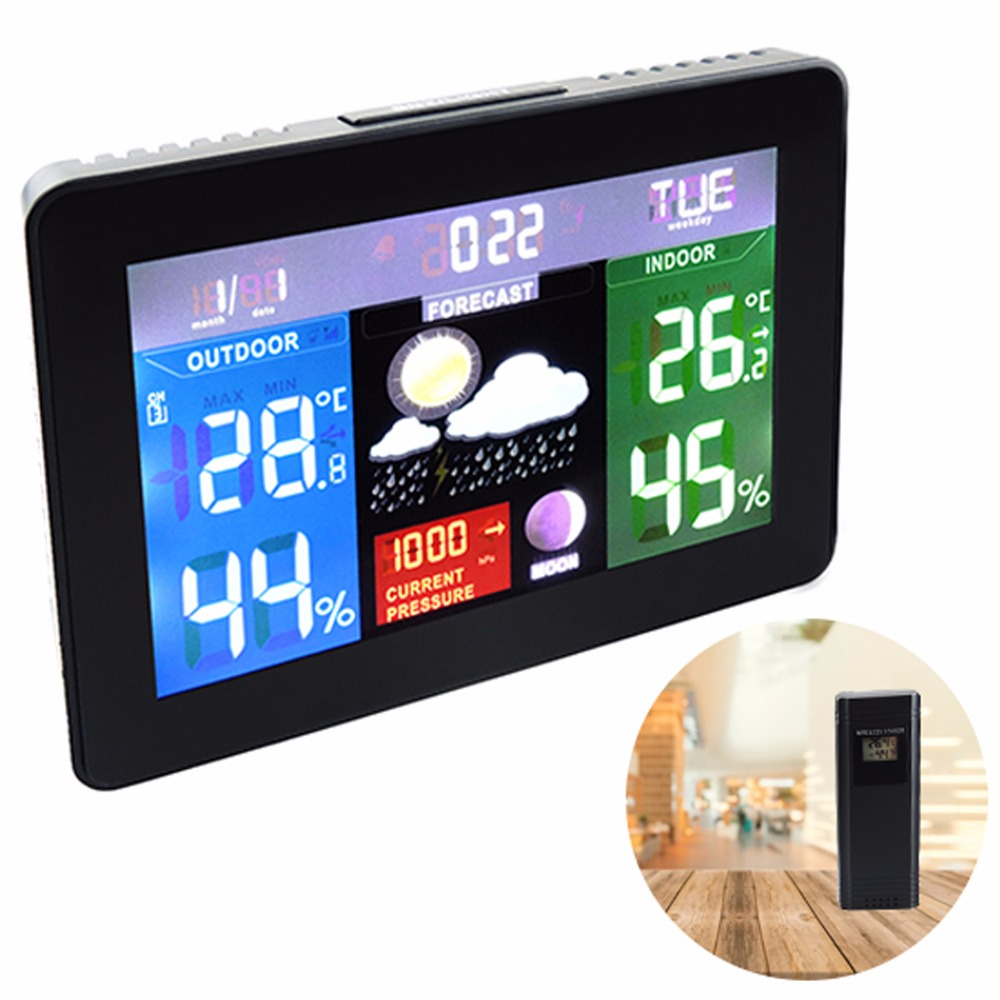 Wireless Sensors Weather Station Barometer RH% Temperature 5 weather Forecast Color Display Radio Controlled Clock - 220V