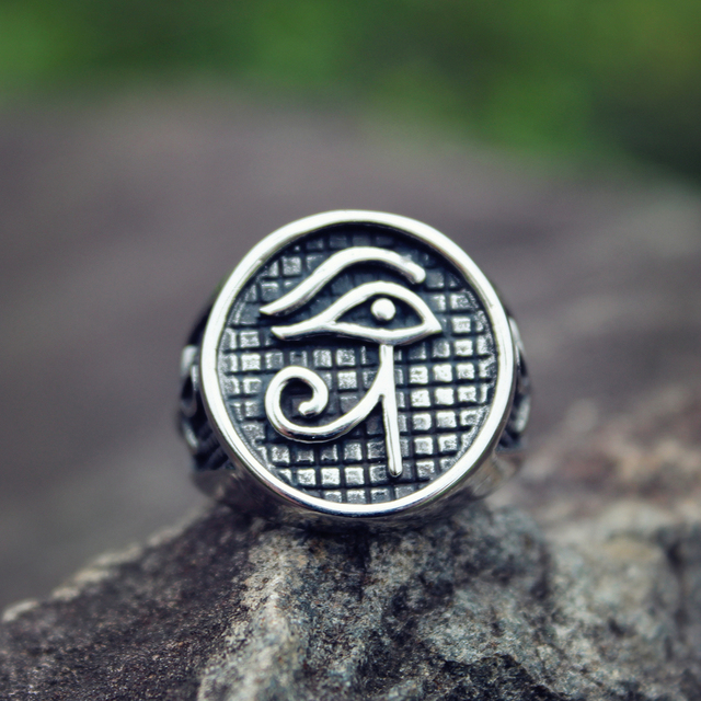 Mens Silver Color Egypt Pharaoh Eye of Horus Ankh 316L Stainless Steel Biker Rings Punk Jewelry