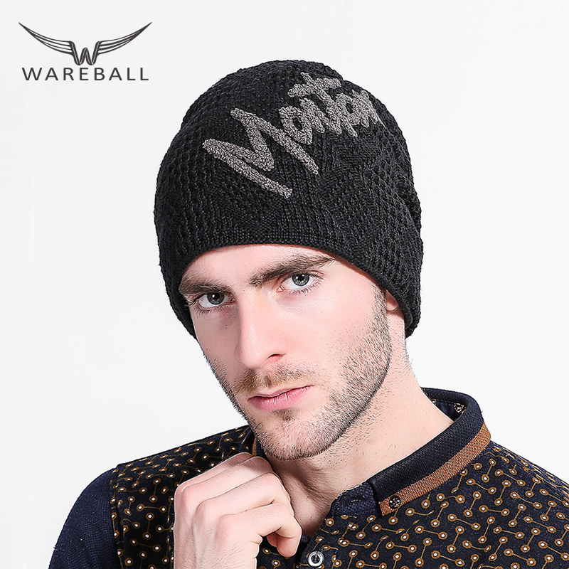 WAREBALL Winter Beanie Knitted Wool Hat Men's Skullies Hat Bonnet Plus Woolen Cap Thicker Sport Beanies Hats for Men wool skullies cap hat 10pcs lot 2289