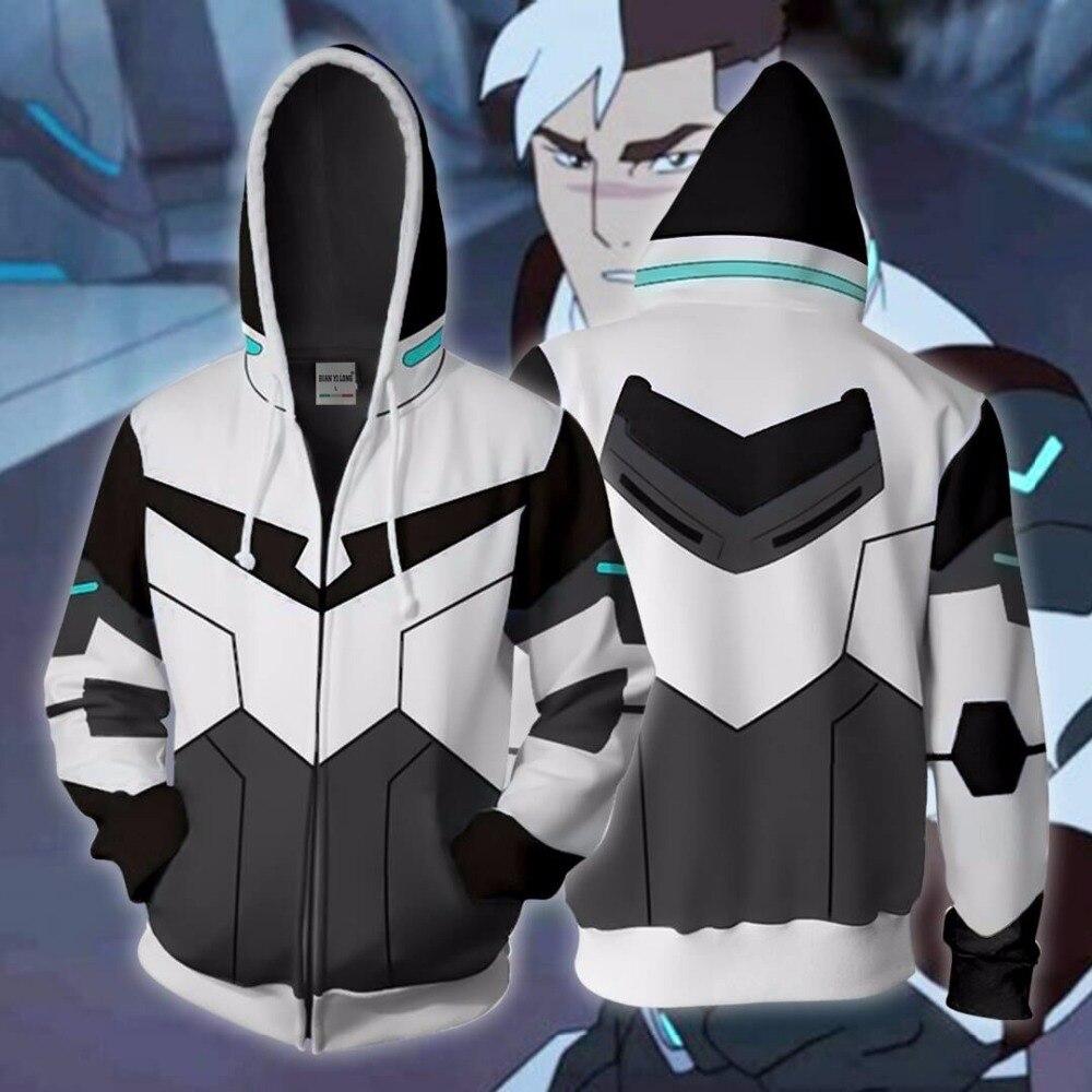 BIANYILONG 2019 New Autumn Winter 3D Print Shiro Voltron Legendary Defender Cosplay Zip Up Hoodie Jacket Clothing