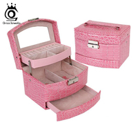 Women Jewelry Storage Box 3 Layers Carrying Case Collecting Box with Mirror SO05