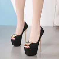 2019 new square buckle rhinestone buckle fish mouth high heel 16CM high heel single shoes