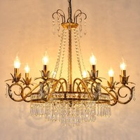 European Style Iron Chandelier Home Crystal Chandelier American Living Room Restaurant Candle Lights Bedroom Retro Crystal