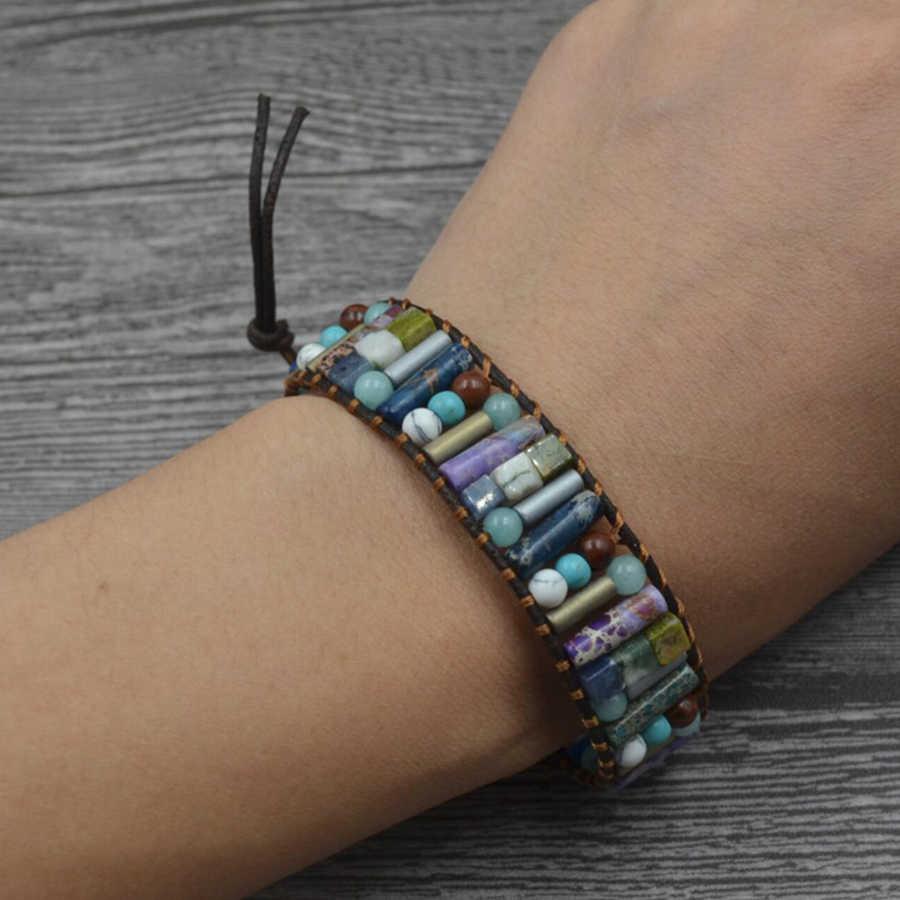 top Women Boho Bracelet Tube Shape Natural Stone Single Leather Wrap Bracelet Semi Precious Stone Beaded Cuff Bracelet Dropship