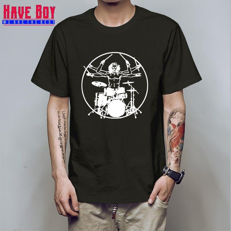 TER MENINO Da Vinci Baterista de Rock Camisetas Hombre De Vitruvio Jugador Guitarra Banda de Tambores Tees Tops Homens Manga Raglan T camisa HB495