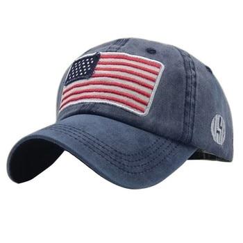 USA Flag Lavato Berretto da baseball Uomo Donna Denim lettera Del Cappello di Osso Ricamo in America Hip Hop Trucker Cap 1