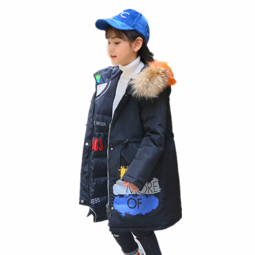 -30 Degrees 2018 girl Clothing Warm Down Jacket For Teenagers New Winter Thicken Parka garments Hooded Children Outerwear Coats 2018 girls clothing warm down jacket for girl clothes 2018 winter thicken parka real fur hooded children outerwear snow coats