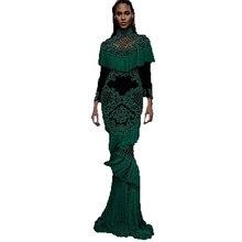 25c1c9c247afa Yüksek kalite yeni moda 2017 pist maxi dress kadın lüks İşi boncuk püskül  uzun dress oymak