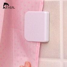 FHEAL Shower Curtain Clip Bathroom Curtain Buckle Viscose Fixed Hook Seamless Sticky Hooks Prevent Curtain Moving Bathroom Tool
