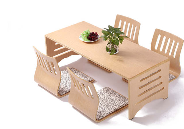 Brilliant Us 314 1 10 Off 5Pcs Set Modern Japanese Style Dining Table And Chair Asian Floor Low Solid Wood Table Legs Foldable Dining Room Set Zaisu Chair In Spiritservingveterans Wood Chair Design Ideas Spiritservingveteransorg