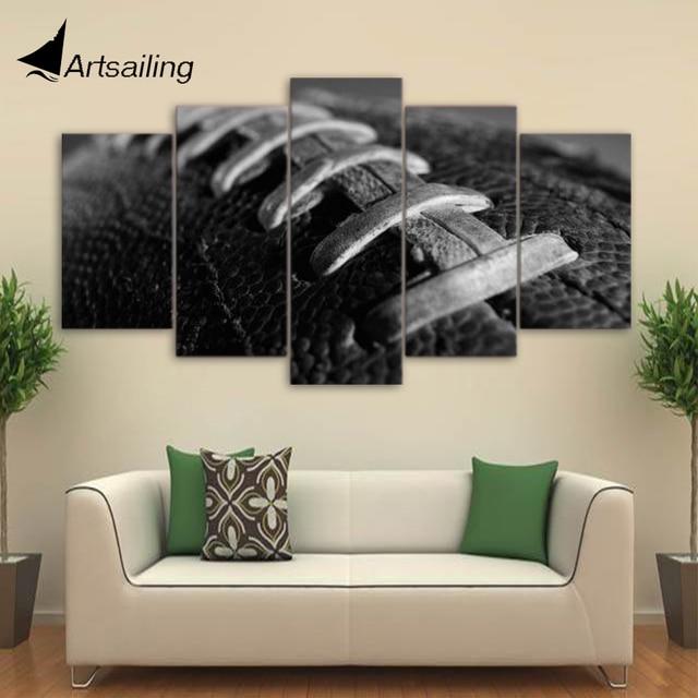 leinwand malerei gedruckt 5 st cke american football wandkunst leinwand bilder f r wohnzimmer. Black Bedroom Furniture Sets. Home Design Ideas