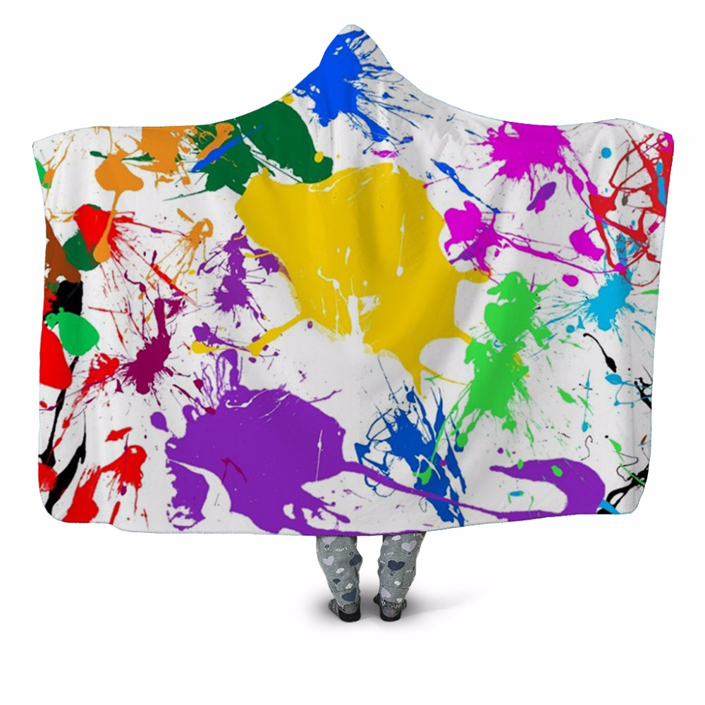 Paint Splatter 3D Printed Plush Hooded Blanket for Adults Youth Children Warm Wearable Fleece Throw Blanket Home Office Washable|Blankets| |  - title=