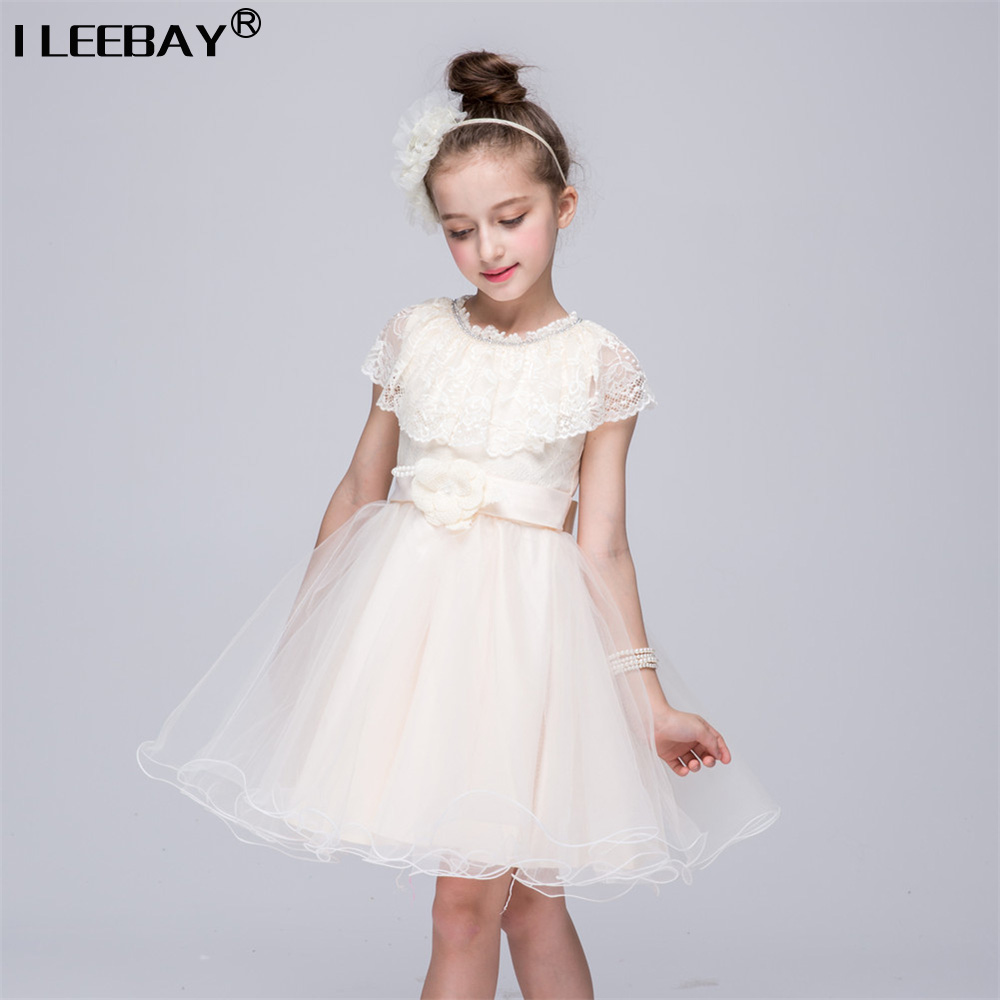 Summer 2017 High Quality Girls Princess Tutu Dresses Girl Wedding Party Flower Bow Bridesmaid Children Lace Dress Costume 2-8y princess girls summer dresses elegant girl lace tutu vestidos with waistcoat kids party costume casual children dress age 2 12y
