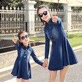 Equipo del padre-niño de Manga Larga Falda Vaquero Jeans ropa vestido Vestido de madre e hija madre e hija familia Falda a juego