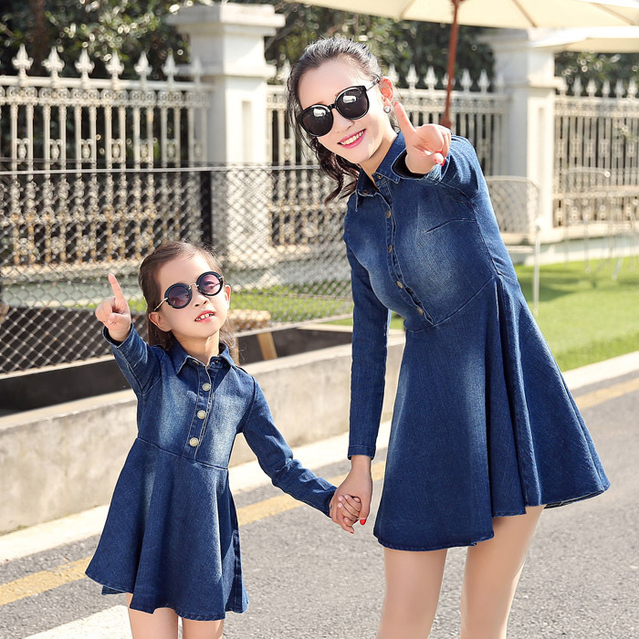 ФОТО Parent-child Outfit  Long Sleeve Skirt Cowboy Jeans Dress mother and daughter clothes vestido madre e hija Skirt family matching