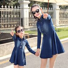 Parent-child Outfit Spring 2016 Long Sleeve Skirt Cowboy Jeans Dress mother and daughter clothes Cultivate Long Denim Skirt: