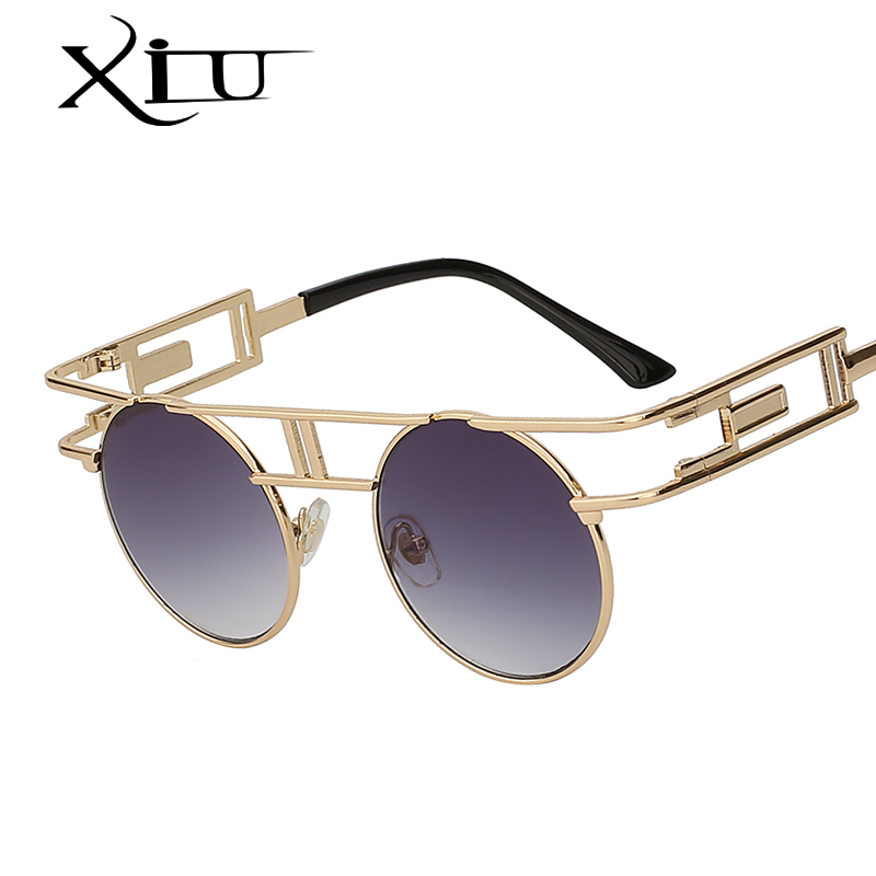 XIU Steampunk Gothic Sunglasses Women Brand Designer Sun glasses Retro Vintage Rose Gold Female Glasses Top Quality UV400