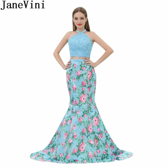 JaneVini Sexy Halter Floral Prom Dress Woman Two Pieces Long Evening Gown Beaded Flowers Print Mermaid Graduation Party Dresses