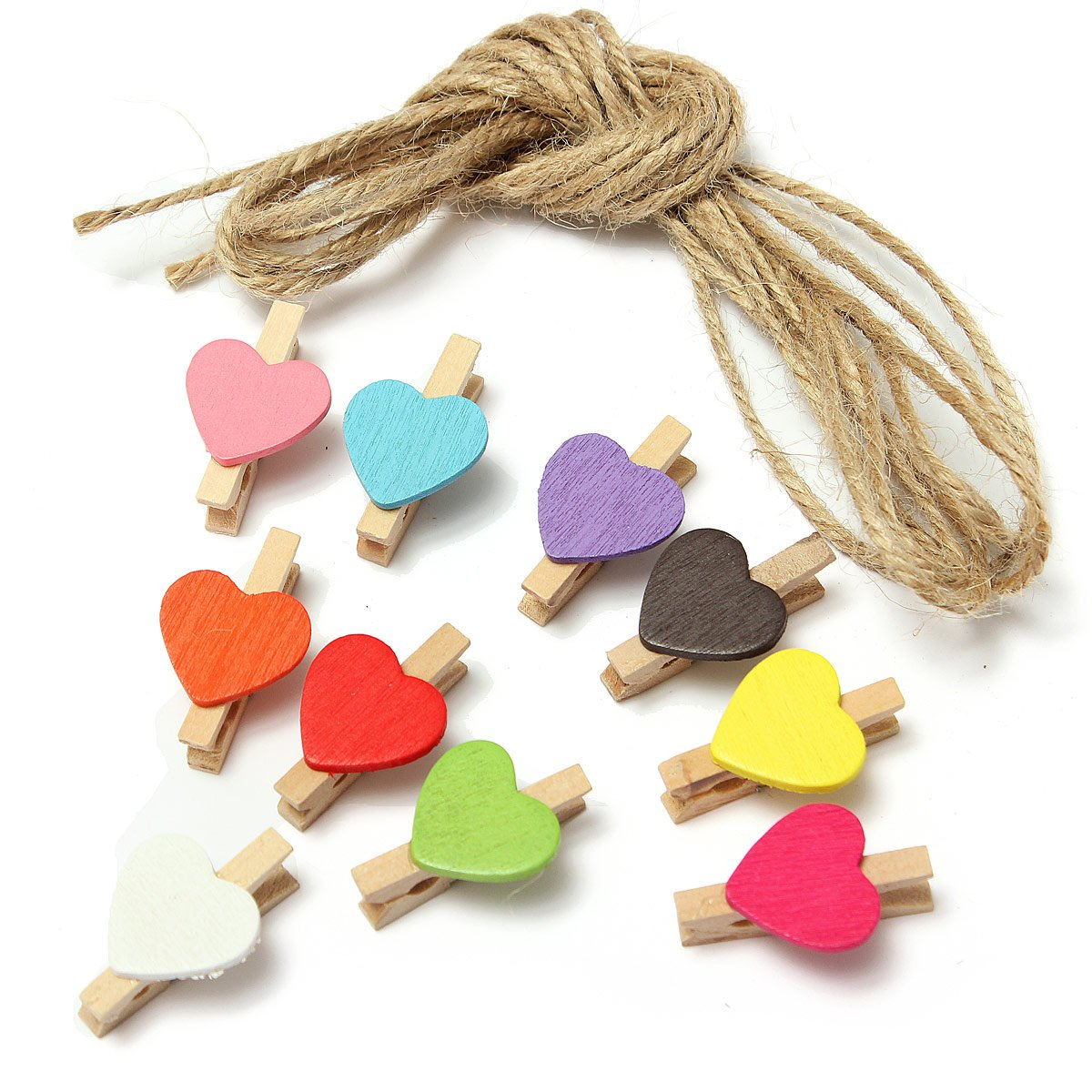 HOT GCZW-10Pcs Mini Heart Photo Memo Clips Wooden Pegs Crafts Party Favor Hanging