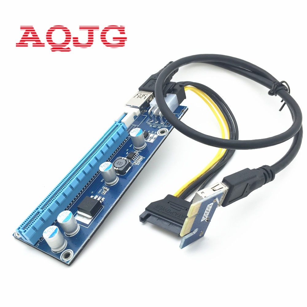 100sets/Lot VER 006C PCIe PCI-E PCI Express Riser Card 1x to 16x PCI-E Risers 6Pin Power for BTC Miner Machine Cable