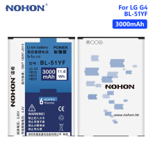 NOHON Battery For Rechargeable Lithium LG G4 G3 G5 V10 Google Nexus 5 BL-53YH BL-51YF BL-42D1F BL-45B1F BL-T9 Phone Batteries