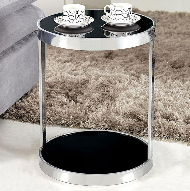 Stainless steel glass coffee table sofa side cabinet circular fashion a few small coffee table phone toughened glass small tea table phone sofa the round table