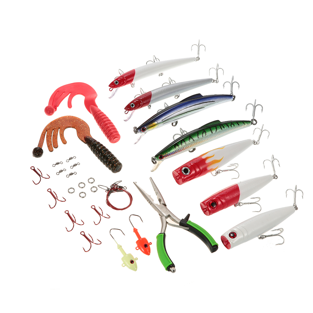 30pcs Sea Fishing Lure Kit Including Fishing Plier Popper Minnow Worm Jig Hook Steel Thread Rolling Swivels with Tackle Box pisfun 96pcs fishing lure set kit minnow popper spinner baits worms jig heads swivels metal spoon lures with fishing tackle box