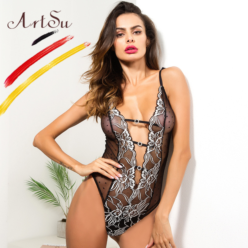ArtSu Sexy Bodysuit Women Sleeveless Deep V-Neck Fit Body Women 2018 Black Mesh Floral E ...
