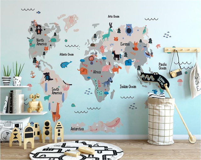 Beibehang custom wallpaper furniture decoration mural hand painted beibehang custom wallpaper furniture decoration mural hand painted cartoon world animals map kids room mural photo gumiabroncs Image collections