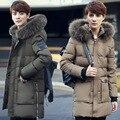 Uwback 2017 New Winter Long Thick Duck Down Coat Men Plus Size 2XL Raccoon Dog Fur Collar Hooded Winter Jacket Men Coat CAA221