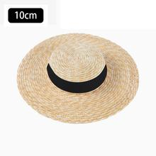 2019 Wide Brim Boater Hat 10cm 15cm Brim Straw Hat Flat Women Summer Kentucky Derby Hat White Black Ribbon Tie Sun Hat Beach Cap chic black ribbon embellished summer straw hat for women