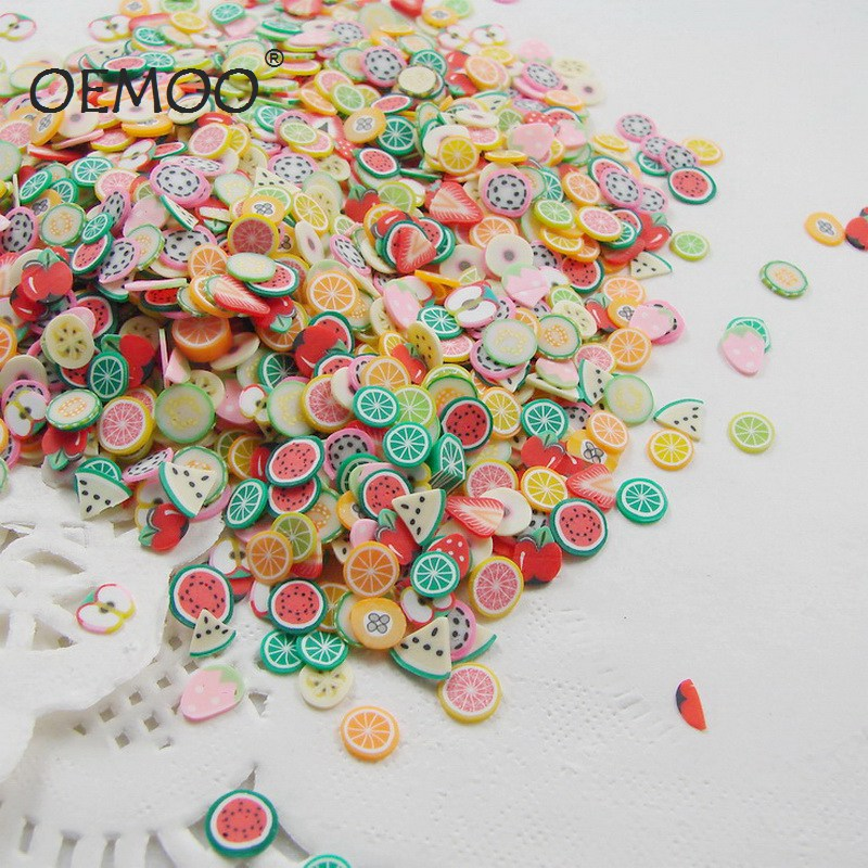 1000pcs/pack Fruit Flower Animal Polymer Clay DIY Slice  3D Nail Art  Decoration Nail Sticker 10 Kinds Of Options