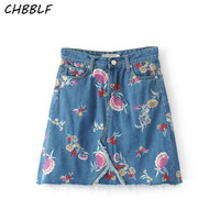 Spring And Summer New European Floral Embroidery Jeans Fashion Half Skirt Women Denim Skirts Wdl5227