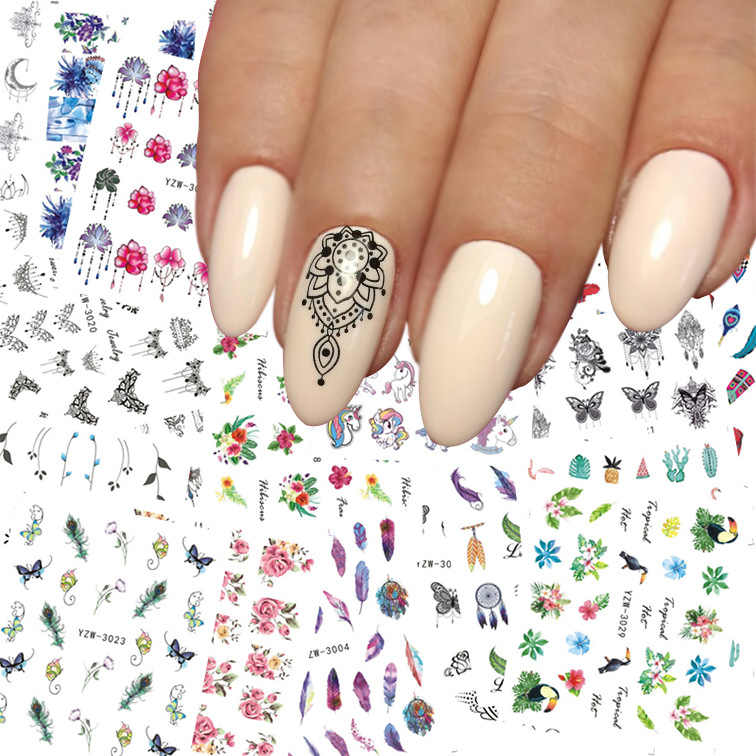 1 Pcs Stiker Kuku Air Decals Wanita Putih Bunga Cat Butterfly Transfer Nail Art Dekorasi 2018 NSm111