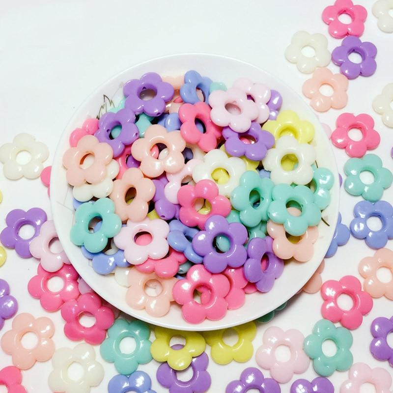 Novo acrílico oco para fora grânulos soltos acrílico buracos flor diy acessórios jóias grânulos doces cor sólida diy contas 50 pçs