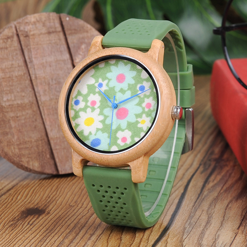Custom BOBO BIRD L-B04 Soft Green Silicone Band Bamboo Wood Watches for Women Flowers Cloth Dial Casual Japan 2035 Quartz Watch bobo bird bamboo wood quartz watch men women japanese majoy movement soft silicone strap casual ladies watch wristwatch for gift