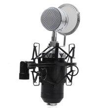 """מיקרופון סטריאו Wired סאונד אולפן הקלטות מיקרופון הקבל 3.5 מ""""מ עם מחזיק מעמד למחשב"""
