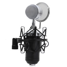 Wired Sound Studio Recording Condenser Microphone 3.5mm Stereo MIC with Stand Holder for Computer