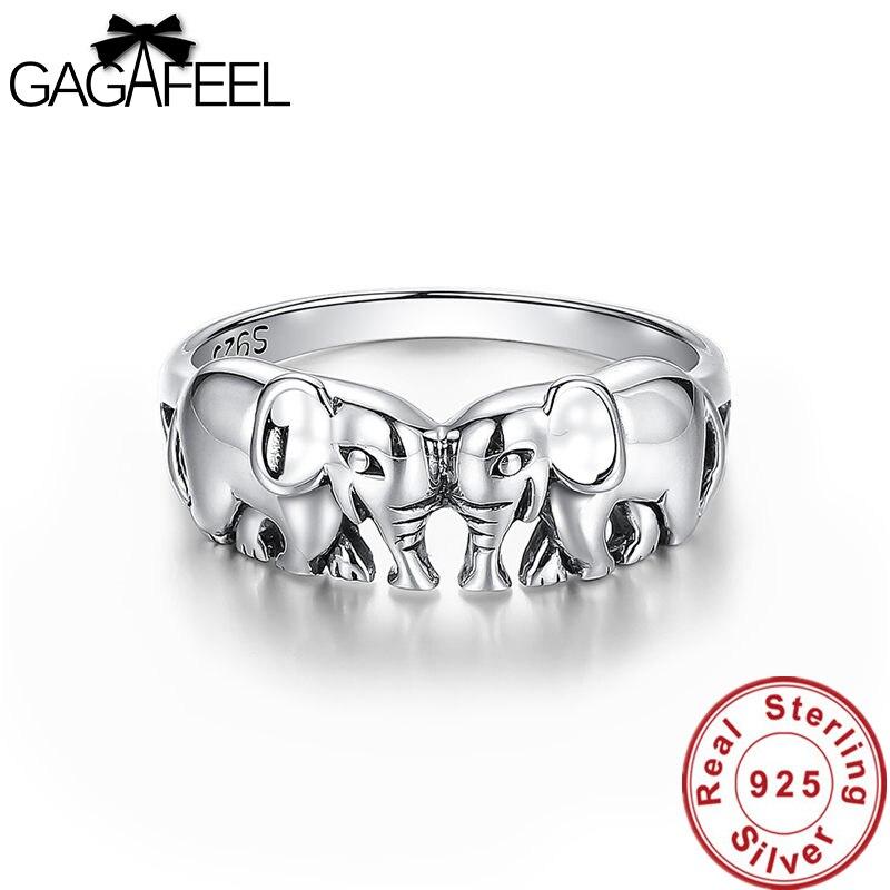 GAGAFEEL 100% Sterling Argent Anneaux Fine de Bon Augure Éléphant Bijoux Anneaux pour les Femmes Thai Sliver Bagues Charmes Dropship
