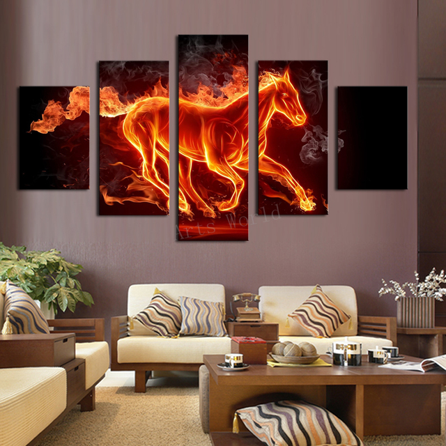 5 Pieces/set Abstract Fire Horse Canvas Print Painting For Living Room Wall  Art Picture