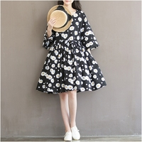 Daisy Flowers Print Retro Vintage Round Collar Cotton Loose Large Size Women S Dress 2016 Summer