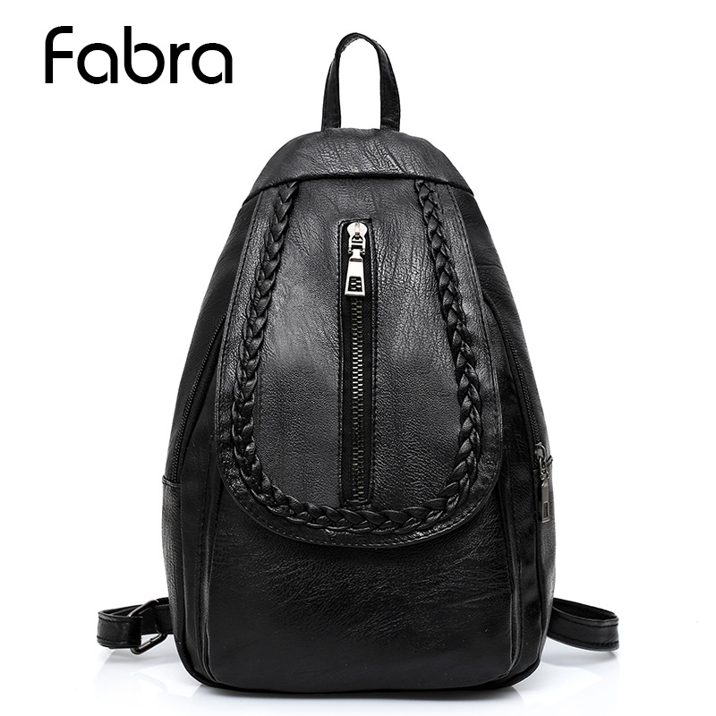 Fabra New PU Leather Small Fold Braid Backpack Zipper Preppy Style Daypacks Casual Shoulder Bags Girl Chest Backpacks Black 2017 new nail fold capillary microcirculation analysis instruments