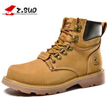 Z.Suo 2017 Autumn Winter Brand Mens Genuine Cow Leather High Top Boots Man Classic Retro Work Safety Boots Warm Shoes ZS16508