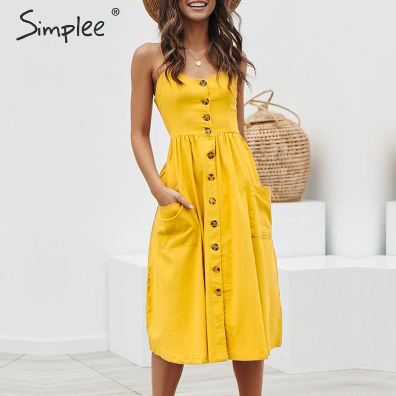Simplee Elegant button women Pocket polka dots yellow cotton midi dress Summer casual