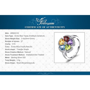 Image 5 - JPalac Flower Natural Amethyst Citrine Garnet Peridot Topaz Ring 925 Sterling Silver Rings for Women Silver 925 Gemstone Jewelry