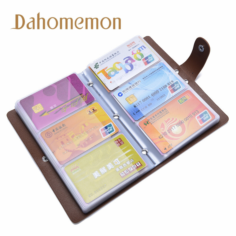 Fashion 96 Slots Unisex Business Card Holder Bags High Capacity Leather ID Bank Credit Card Case Keeper Bag Storage Supplies Hot