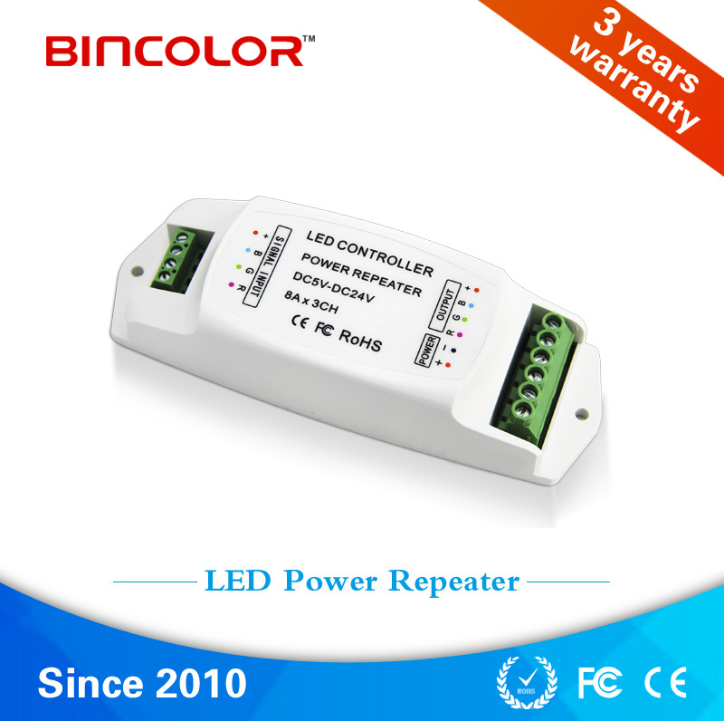 RGB power repeater 8A*3ch PWM signal repeater , LED amplifier led rgb amplifier Free Shipping