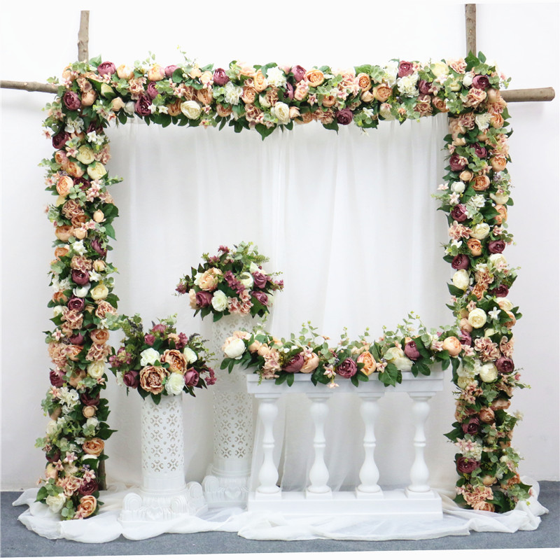 Image 2 - 2pcs/lot 1M Road cited artificial flowers row wedding decor flower wall arched door shop Flower Row Window T station  Christmas-in Artificial & Dried Flowers from Home & Garden