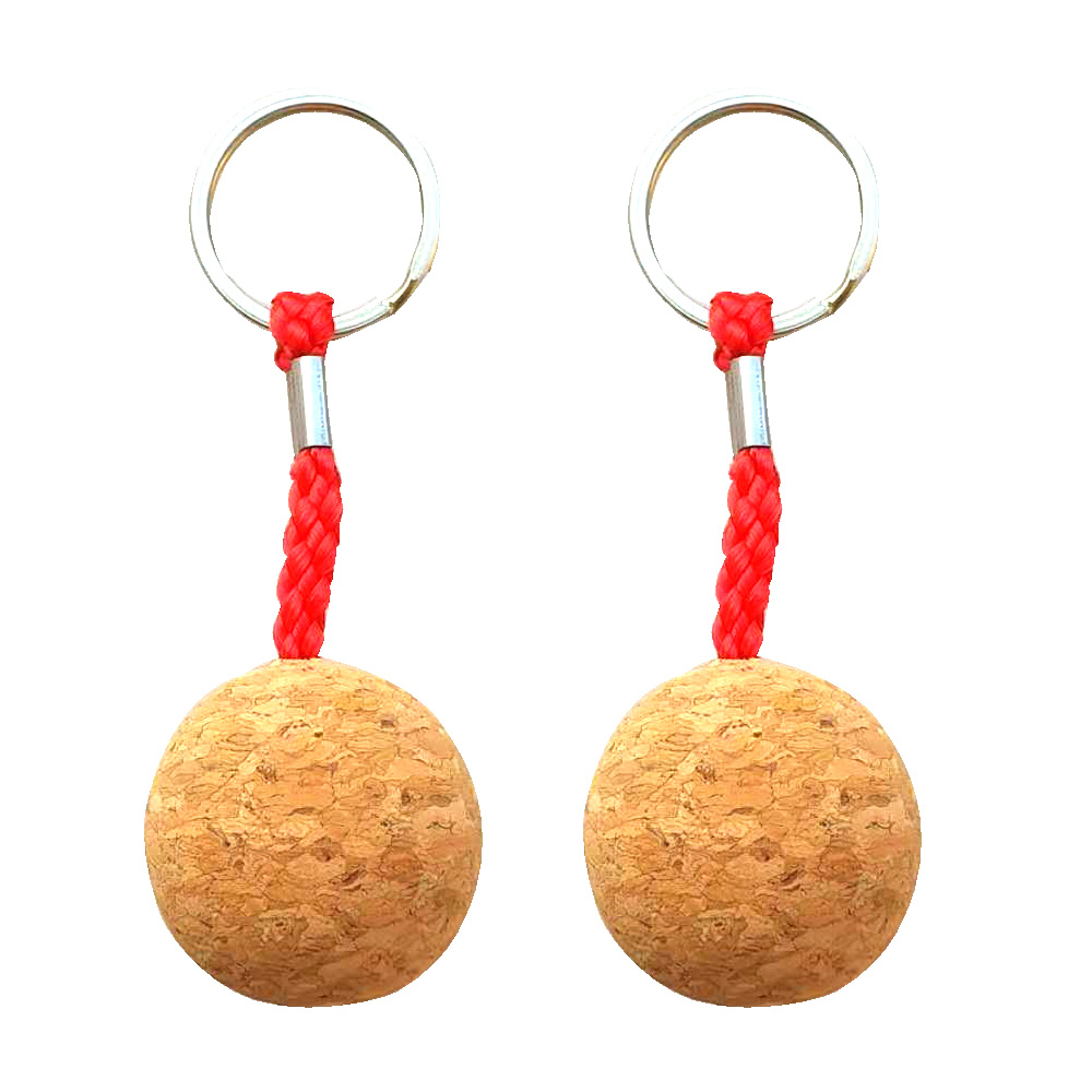 OutdoorExplore Waterski Canoe Kayak Floating Cork KeyChain Buoyant Keyring Wooden Ball Buoyant Key Ring